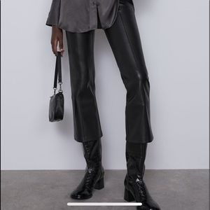Zara faux leather flared pants leggings